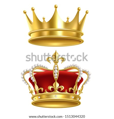 Real royal crown. Imperial gold luxury monarchy medieval crowns for heraldic sign isolated realistic vector golden elegant crowning king vintage set on white background