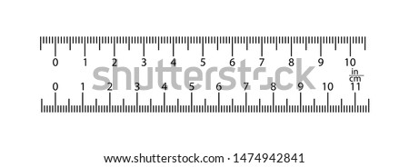 real ruler is 11 inches and 10 inches. 1 division is 1 millimeter, 1 division is 1 inch. Transparent background.