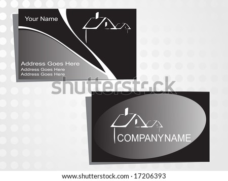 real state business card with logo - stock vector