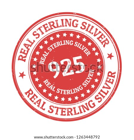 Real sterling silver sign or stamp on white background, vector illustration Stock photo ©
