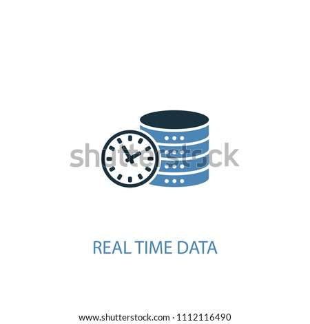Real time data concept 2 colored icon. Simple blue element illustration. Real time data concept symbol design from big data set. Can be used for web and mobile UI/UX