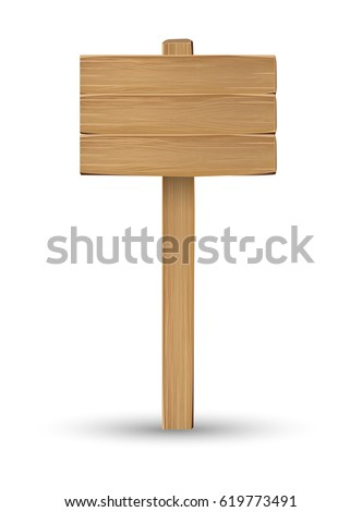 real wood board sign on a white