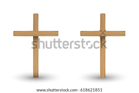 real wooden cross on a with