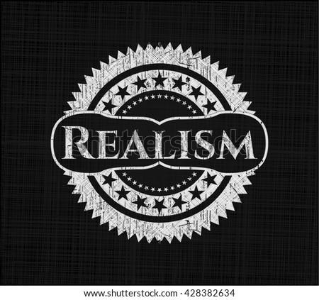 Realism chalkboard emblem on black board