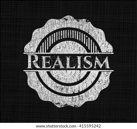 Realism chalkboard emblem written on a blackboard