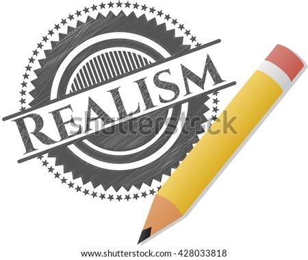 Realism emblem drawn in pencil