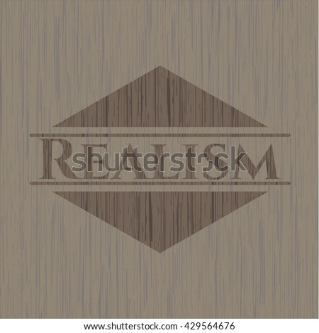 Realism wood icon or emblem