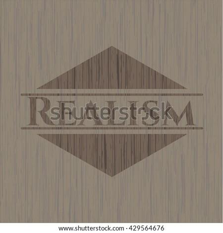 Realism wood icon or emblem