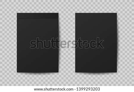 Realistic A4 mock up black paper letter with shadow. C4 blank envelope isolated on transparent background. Envelopes for vertical document. Vertical postage. Template for your design.
