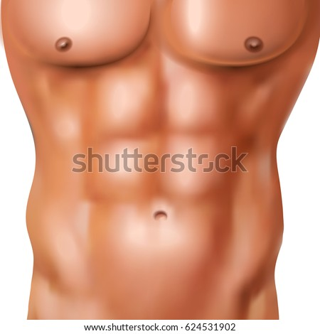 realistic abs pack of naked man