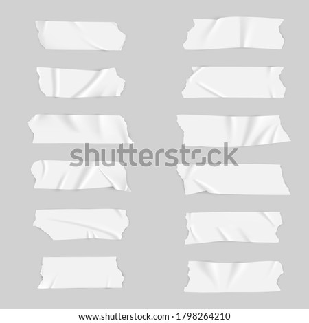 Realistic adhesive tape collection. Sticky scotch tape of different sizes. Vector illustration. Photo stock ©