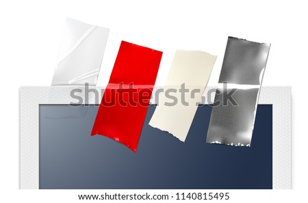 Realistic adhesive tapes of different materials on photo frame. Vector illustration. Сan be used for different backgrounds and objects. Ready for your design. EPS10.