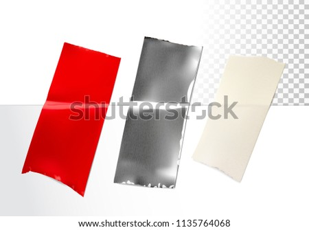 Realistic adhesive tapes of different materials on transparent background. Vector illustration. Ready for your design. EPS10.