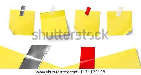 Realistic adhesive tapes of different materials on white background. Vector illustration. Сan be used for different backgrounds and objects. Ready for your design. EPS10.