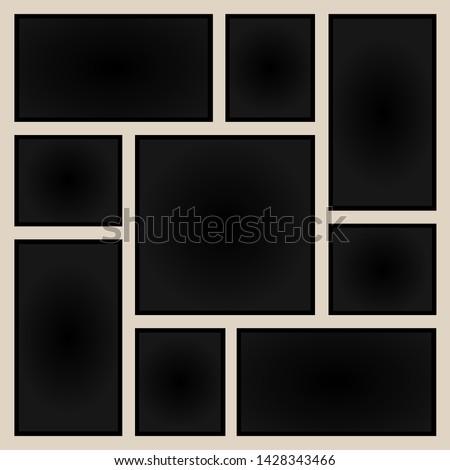 Realistic aged paper Polaroid frames abstract. Vector polaroid illustration