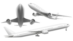 Realistic aircraft. Passenger plane, sky flying aeroplane and airplane in different views. 3d planes transport or landing airliner aerial isolated icons vector illustration