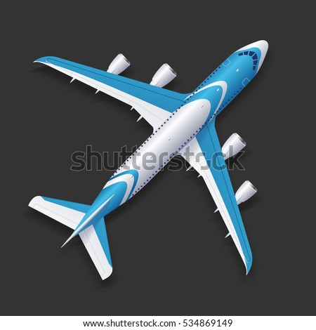 Realistic Airplane Template Top View Passenger or Commercial Jet on a Background. Vector illustration