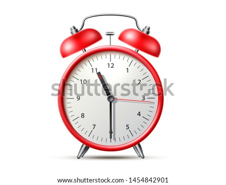 Realistic alarm clock. Red table clock with timer. Morning awaking tool. Time management vintage instrument. 3d vector classic clock with bell.