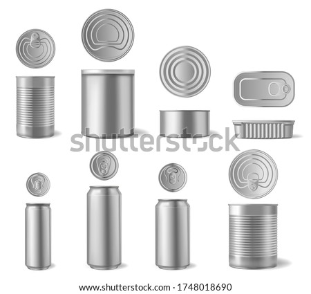 Realistic aluminium can. Beverages and canned food cans, metal packaging different shapes front and top view 3D vector set. Beverage beer container, aluminium mockup illustration ストックフォト ©