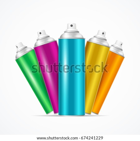 Shutterstock Realistic Aluminium Colorful Spray Can Set for Urban Street Wall Graffiti or Cosmetic Aerosol Product. Vector illustration
