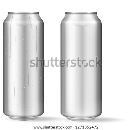 Realistic aluminum can with water drops. Metallic cans for beer, soda, lemonade, juice, energy drink. Vector mockup, blank with copy space.