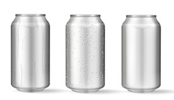 Realistic aluminum cans with water drops. Vector