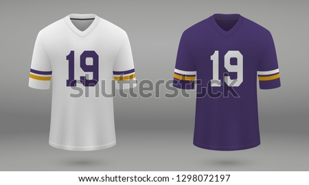 Realistic american football jersey Minnesota Vikings, shirt template for kit. Vector illustration