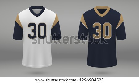 Realistic american football jersey of Los Angeles Rams, shirt template for kit. Vector illustration