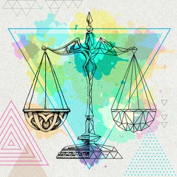 Realistic and polygonal illustration of scales on artistic watercolor background. Libra zodiac sign