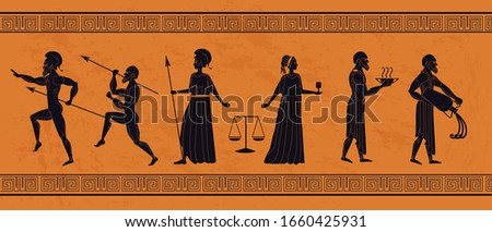 Realistic antique greek ornament vector flat illustration. Different people athletic man, elegance woman, warrior, waiter, servant person decorated with frame isolated on orange background
