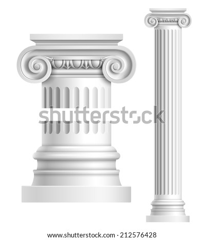 realistic antique ionic column...