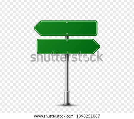 Realistic arrow traffic sign on metal steel pole isolated. Green road panel mockup - direction highway, board text, city location, street arrow, stop, danger, warning signage. Vector illustration