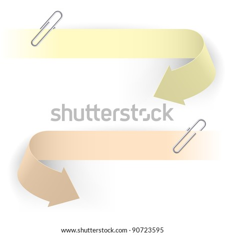 Realistic Arrows and Clips. Illustration on white background.