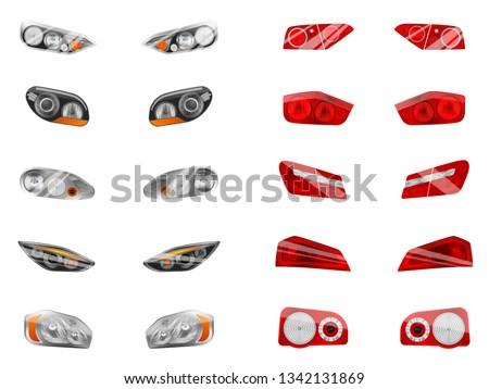 realistic auto headlights set