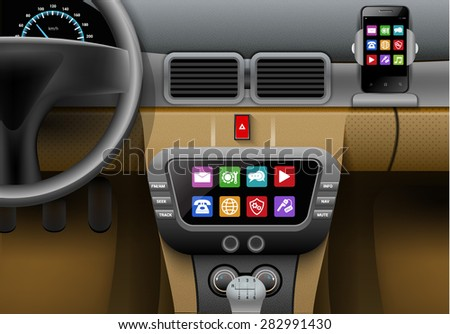 realistic auto interior with