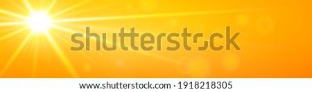 Realistic banner bright orange coastline sky with sun and sunbeam. Vector background of daytime sunny desert sky.