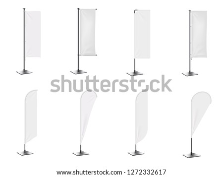 Realistic banner flag 3d mockup on white backdrop. White  empty