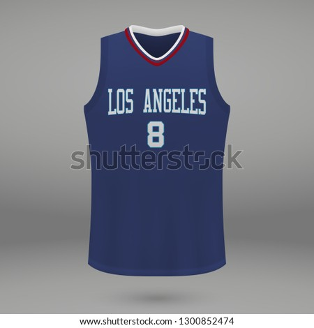 Realistic basketball kit design Los Angeles Clippers, shirt template for sport jersey