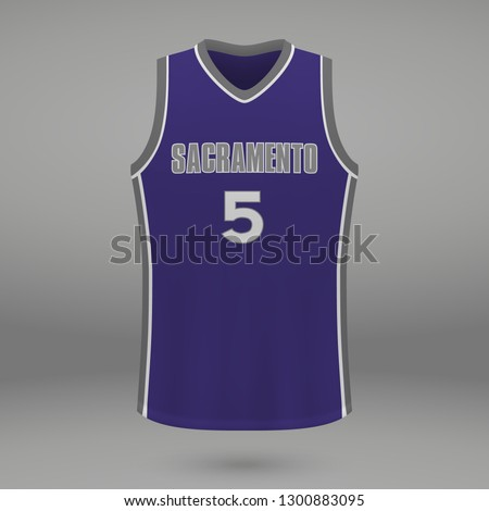 Realistic basketball kit design Sacramento Kings, shirt template for sport jersey