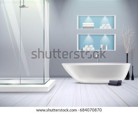 realistic bathroom interior new