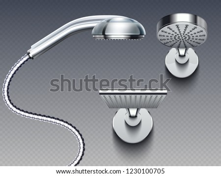 Realistic bathroom shower heads vector isolated on background