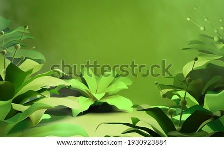 Realistic beautiful green tropical plant foliage scene illustration vector background Stock photo ©