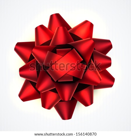 Realistic beautiful red bow isolated on white. EPS10 vector.