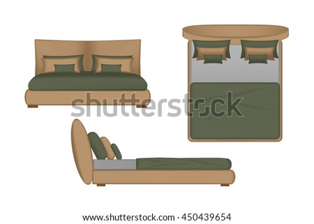 Realistic Bed Illustration Top Front Side View For Your Interior Design Scene