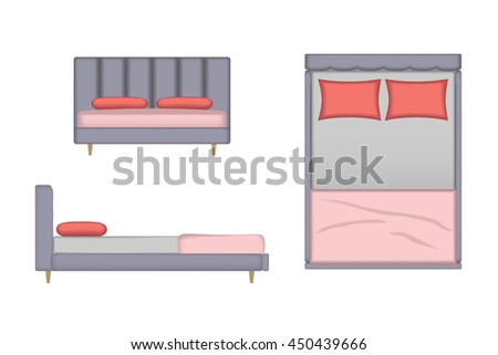 Realistic Bed Illustration. Top, Front, Side View for Your Interior Design. Scene Creator