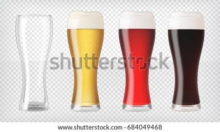 realistic beer glasses mugs