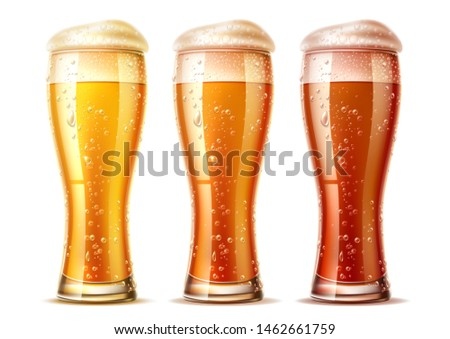 realistic beer glasses set