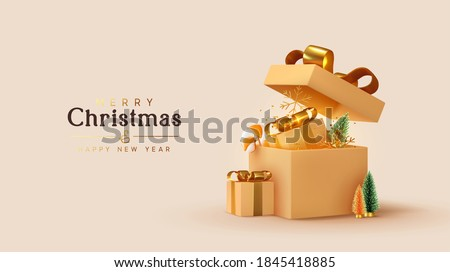 Realistic beige gifts boxes. Open gift box full of decorative festive object. New Year and Christmas design. Holiday banner, web poster, flyer, stylish brochure, greeting card, cover. Xmas background
