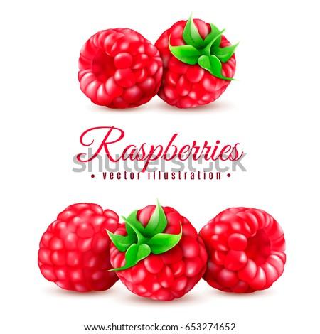 realistic berry raspberries