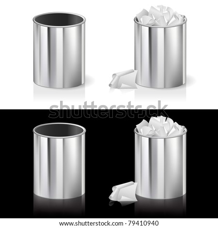 Realistic bin. Illustration for design on white and black background